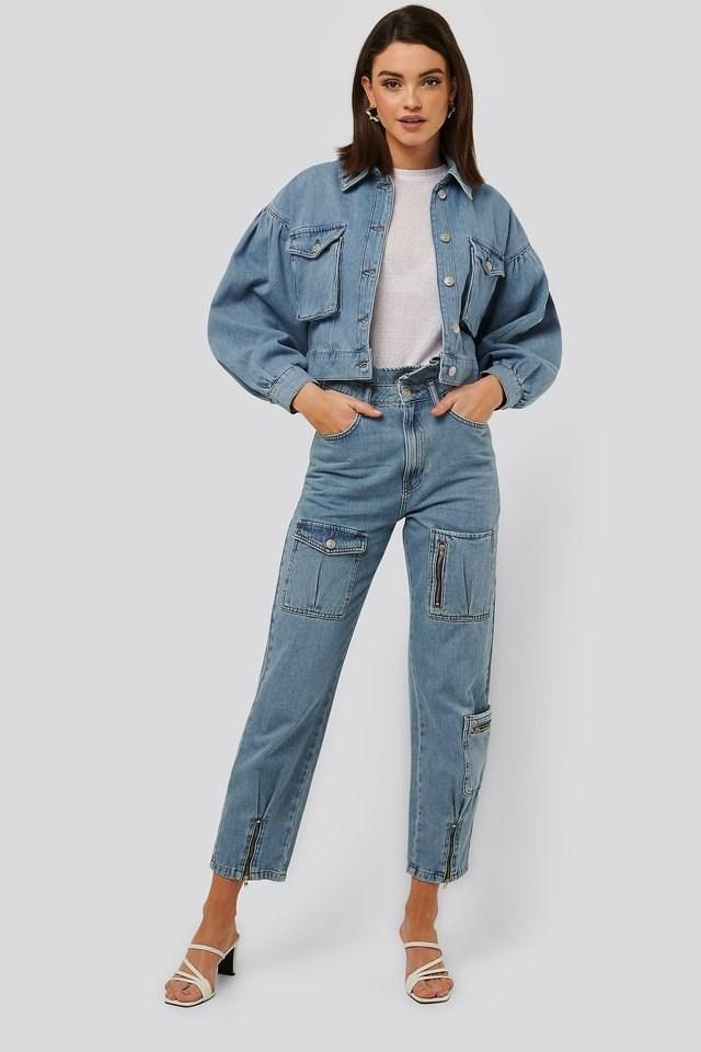 Loose Fit Pocket Denim Blue Outfit.