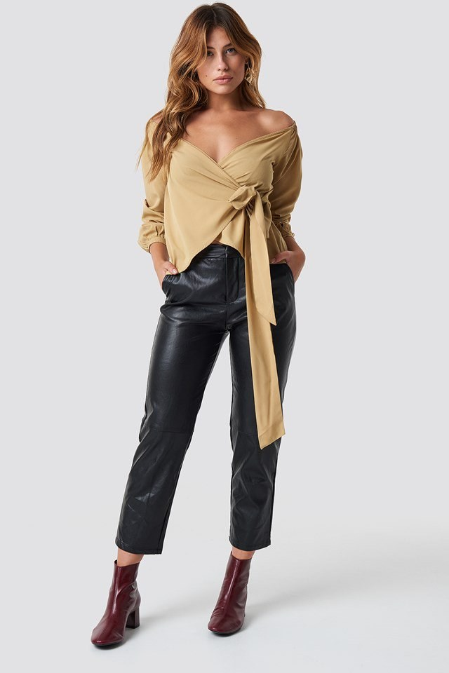 Slip Shoulder Shirt and PU Trousers