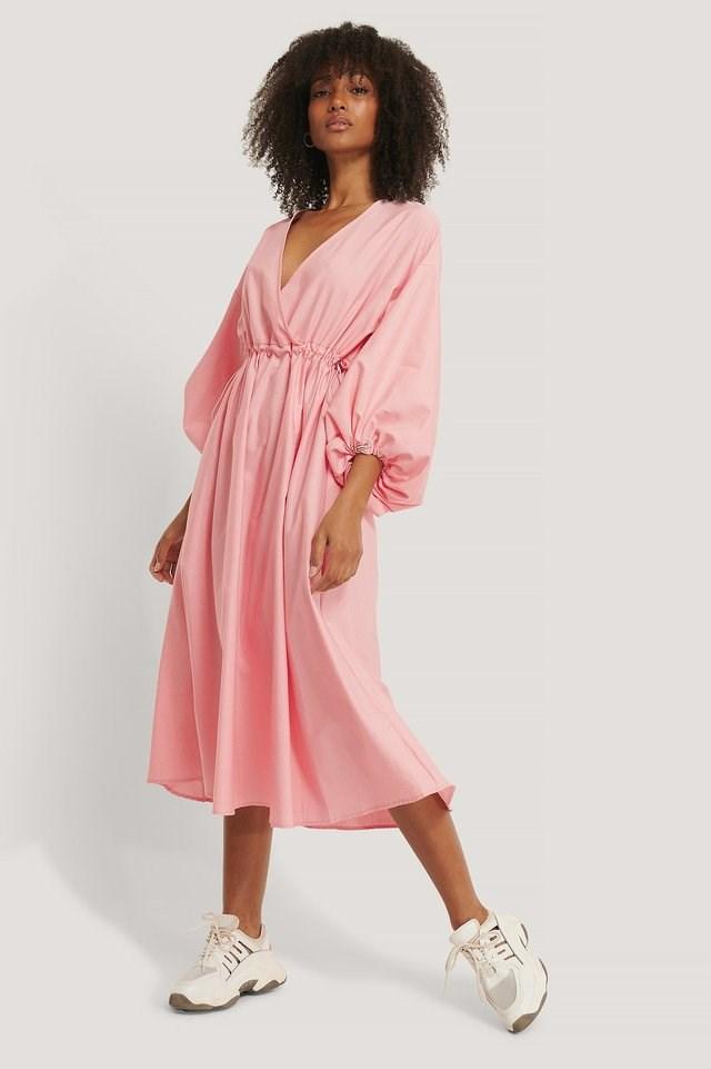 Long Sleeve Drawstring Midi Dress Outfit.