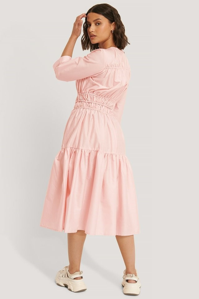 Shirred Midi Dress Outfit.
