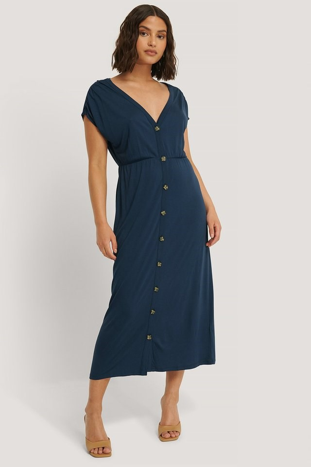 Deep V-Neck Button Detail Dress Outfit.