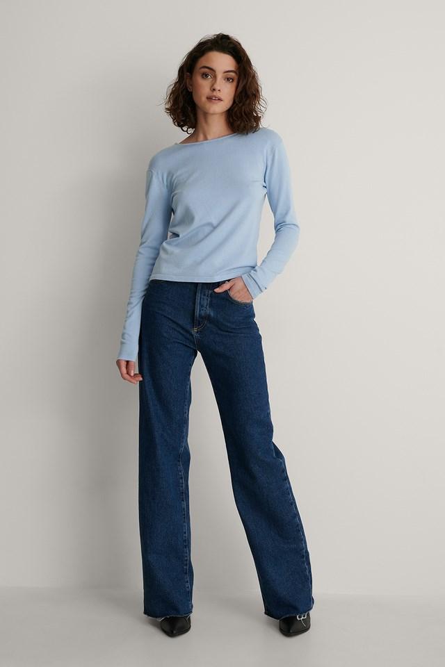Light Blue Open Back Long Sleeve Knitted Sweater