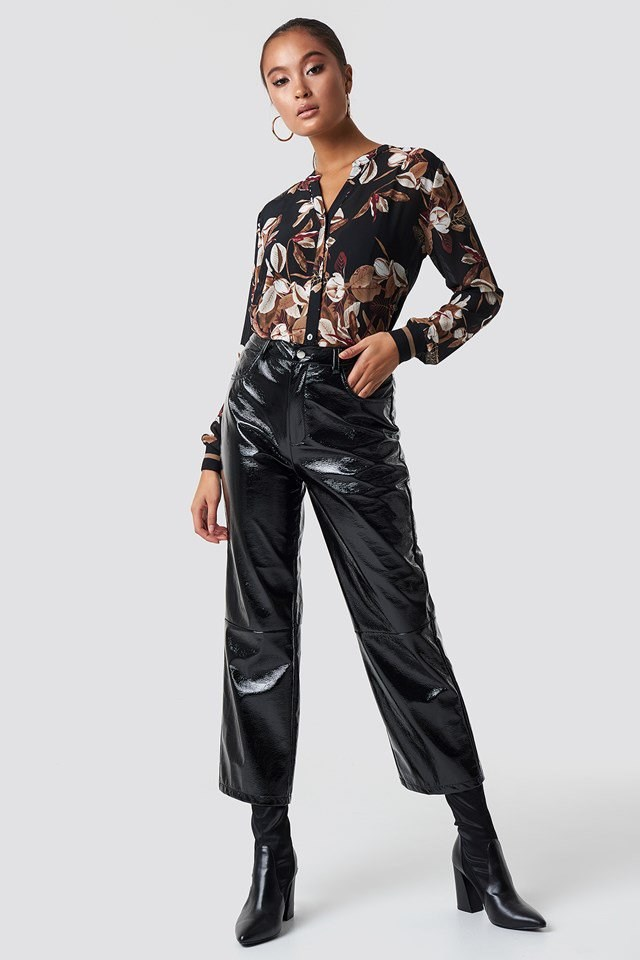 Floral Shirt and PU Pants Outfit