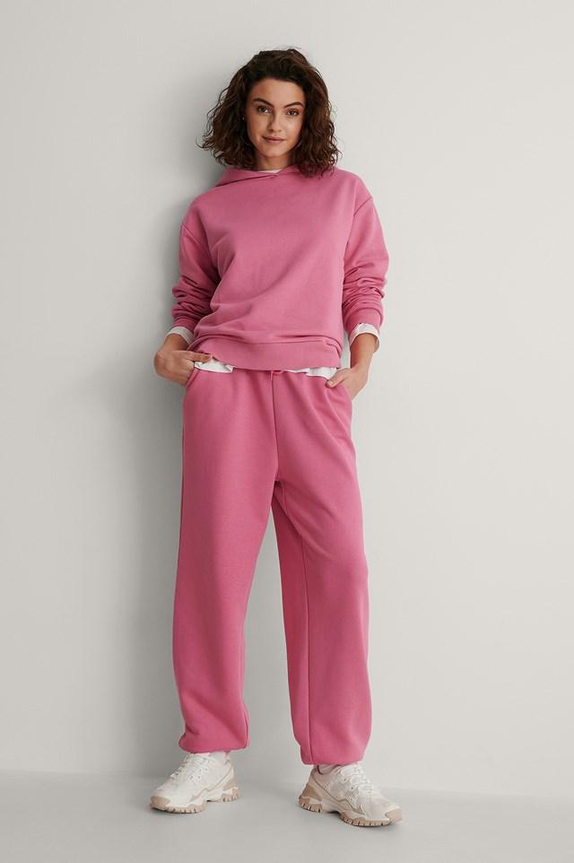 Pink Organic Oversized Drawstring Sweatpants