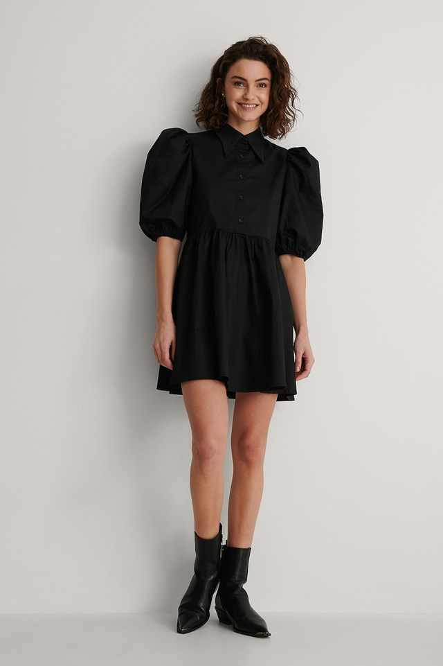 Black Pointy Collar Puff Sleeve Dress