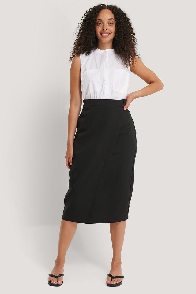Tailored Overlap Midi Skirt Outfit.
