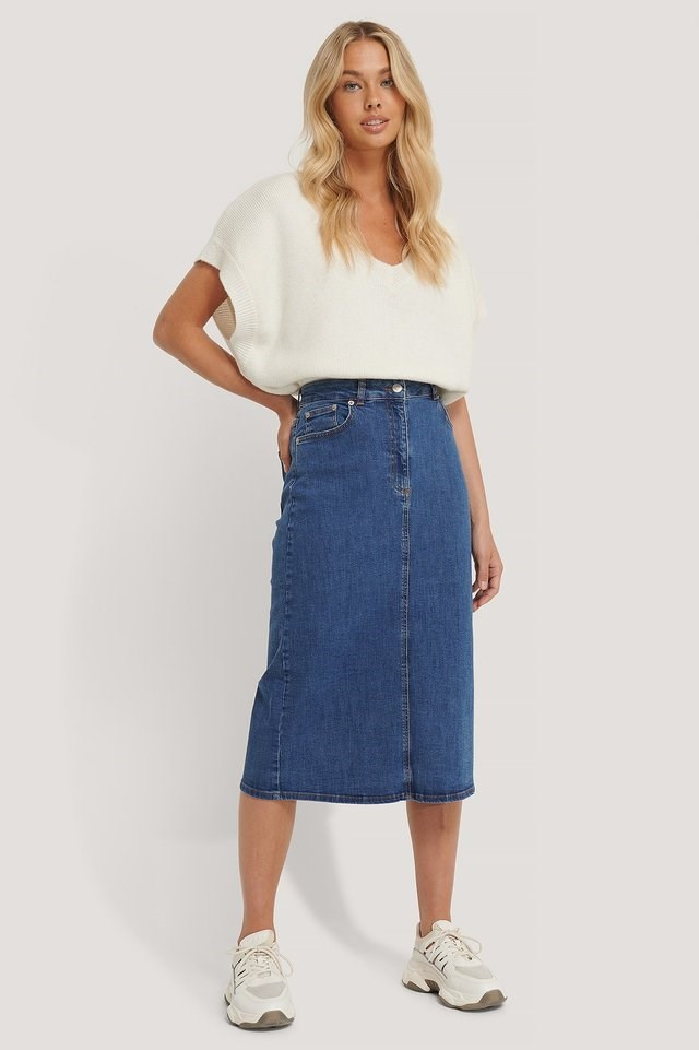 Recycled Midi Denim Skirt Outfit.