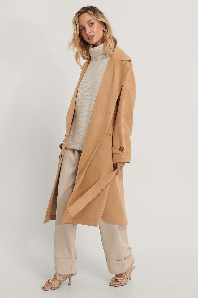 Fake Suede Trench Coat Beige Outfit.