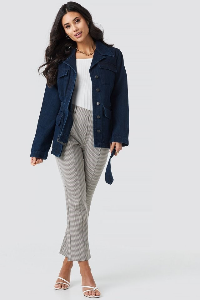 Waist Belted Denim Coat Blue Outfit.