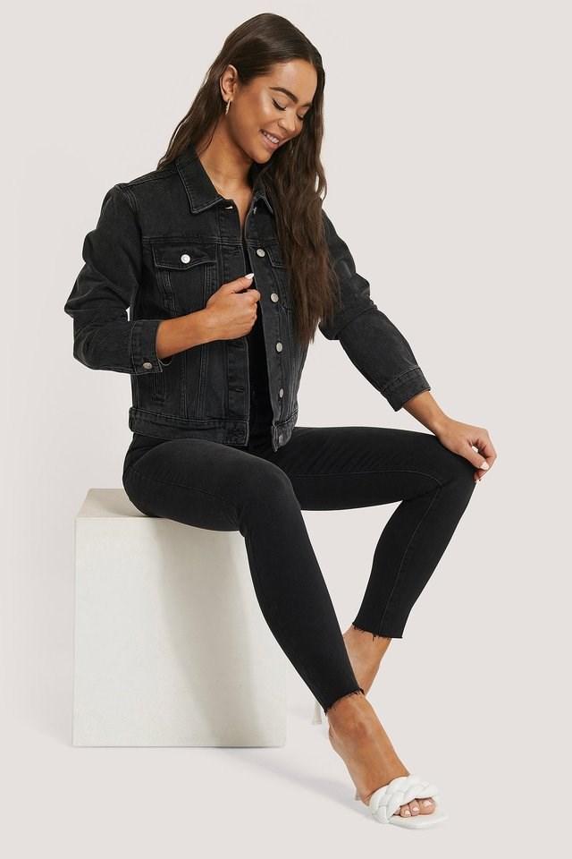 Denim Regular Fit Jacket Grey Outfit.