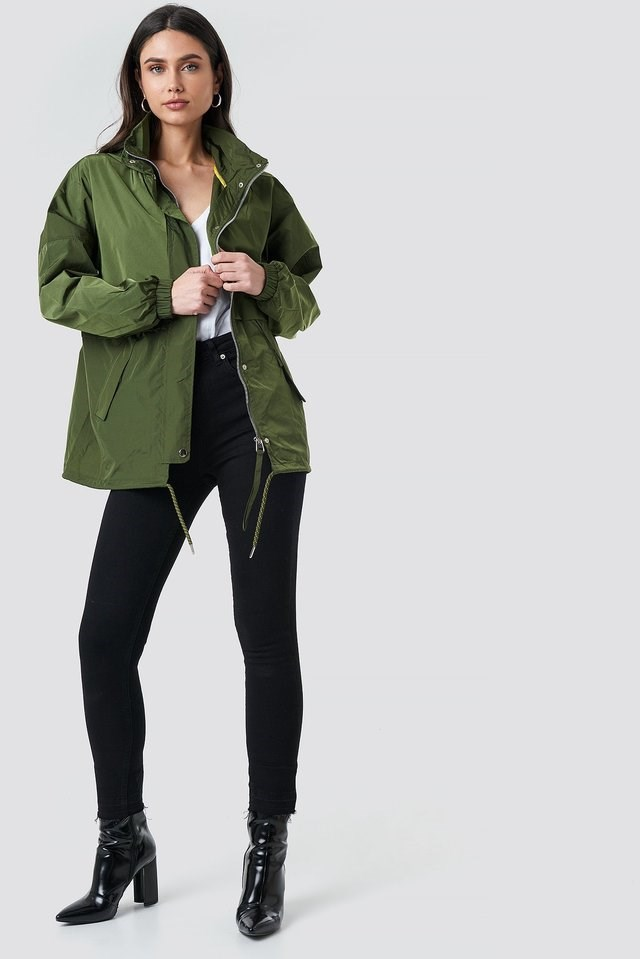 Utility Zip Jacket Green Outfit.