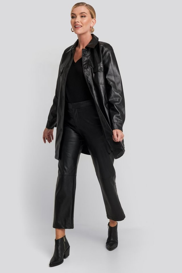 Pu Belted Shirt Jacket Black Outfit.