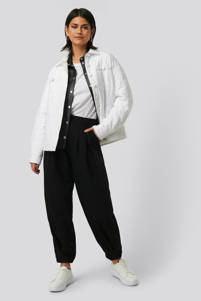 Quilted Buttoned Jacket White Outfit.