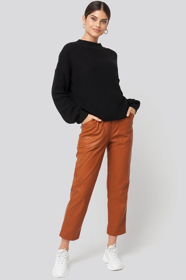 Loose Fit Ribbed High Neck Sweater Outfit.