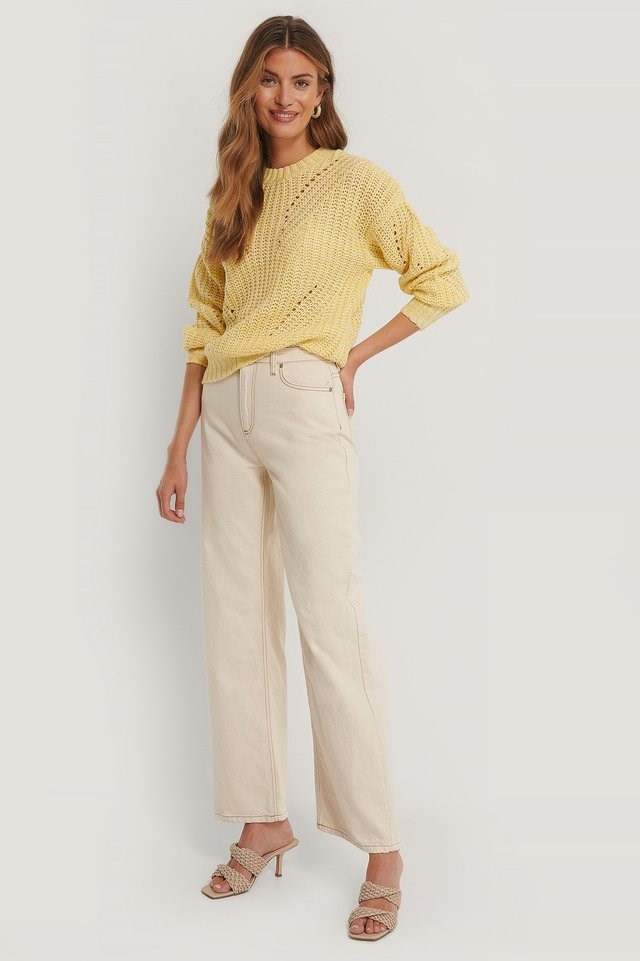 Melange Round Neck Knitted Sweater Outfit.