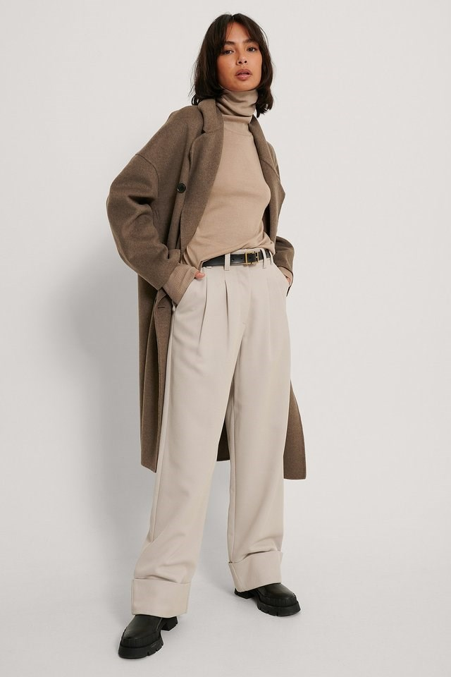Merino Wool High Neck Sweater Outfit.