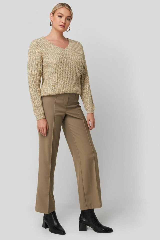 Multi Color V-neck Knitted Sweater Outfit.