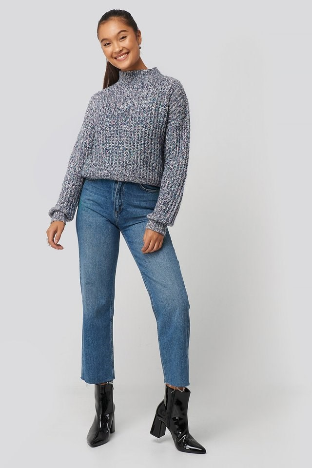 Multi Color Wide Rib Knitted Sweater Outfit.