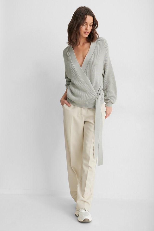 Organic Overlap Knitted Sweater Outfit.