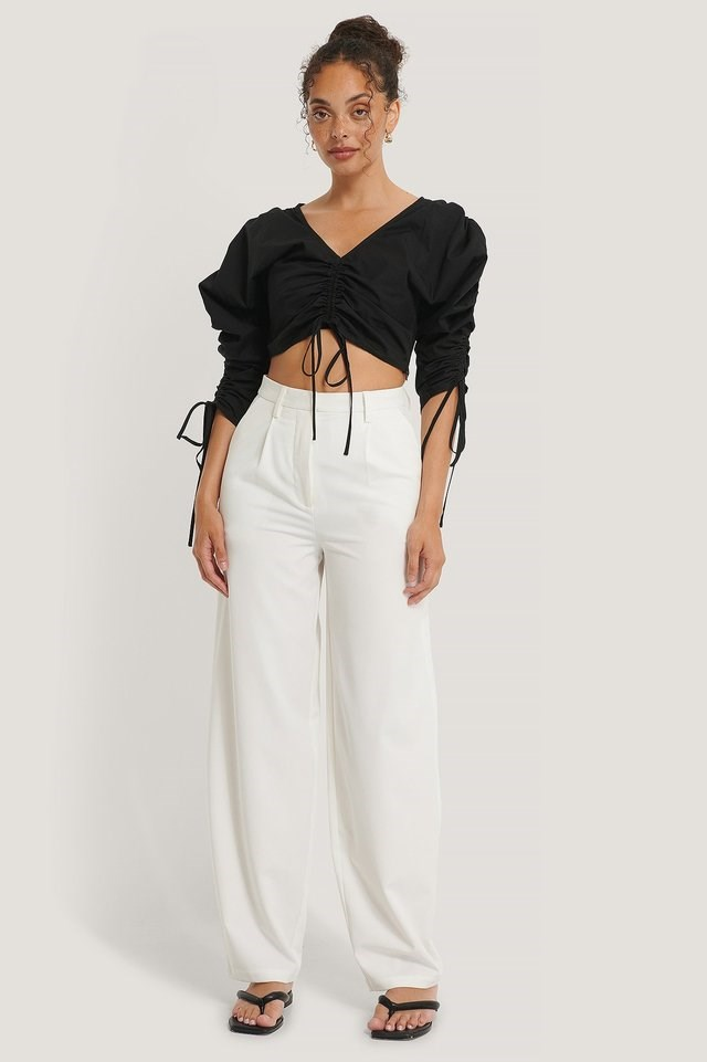 Drawstring Cropped Top Outfit.