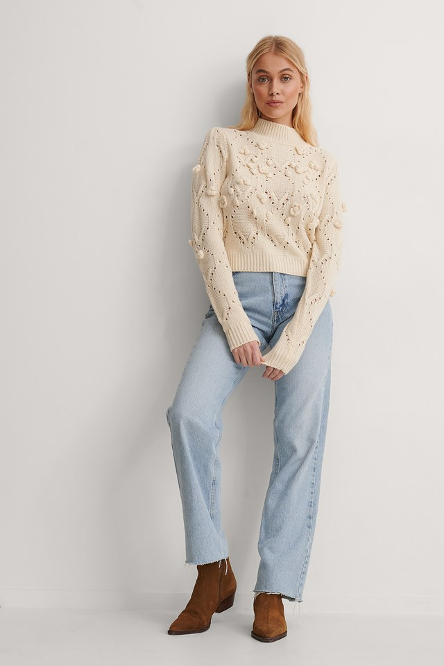 Offwhite Pom Pom Detail High Neck Knitted Sweater