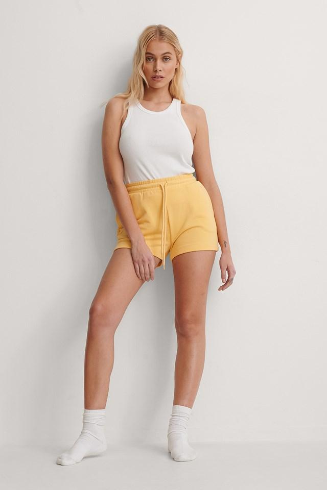 Yellow Organic Drawstring Sweatshirt Shorts