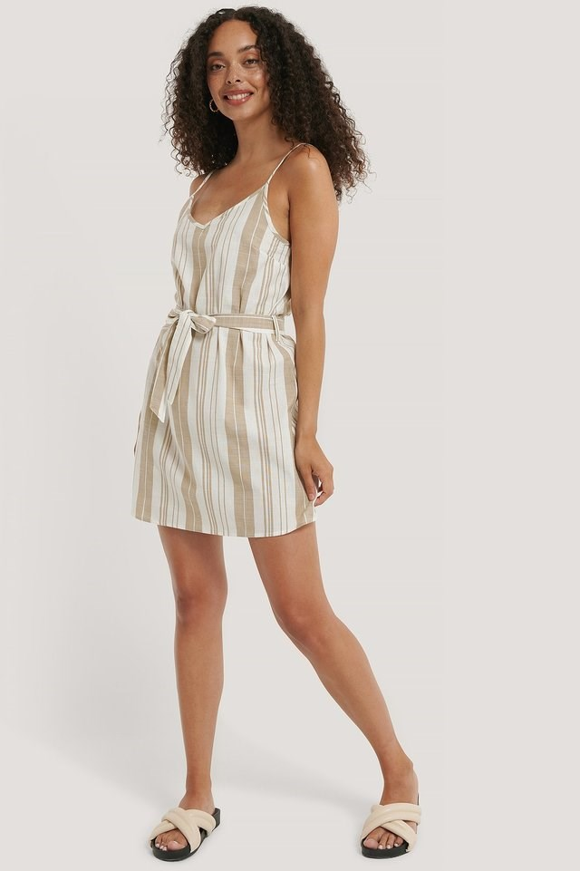 Beige/White Stripe Stripe Cotton Strap Dress