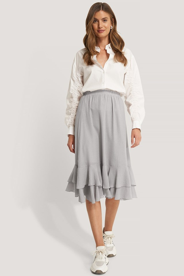 Structured Flounce Midi Skirt Outfit.