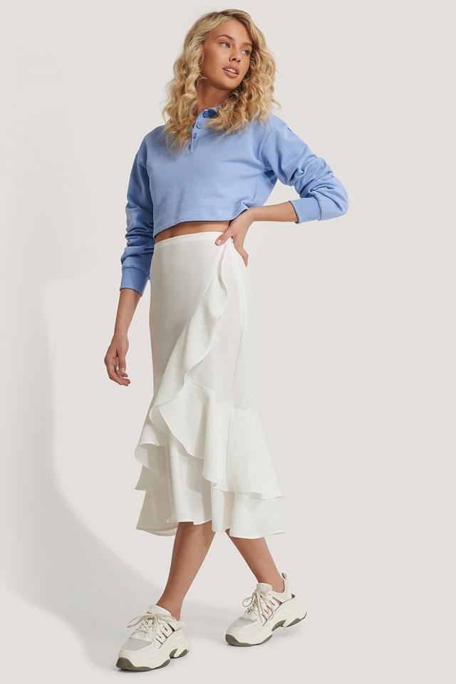Flounce Midi Skirt Outfit.