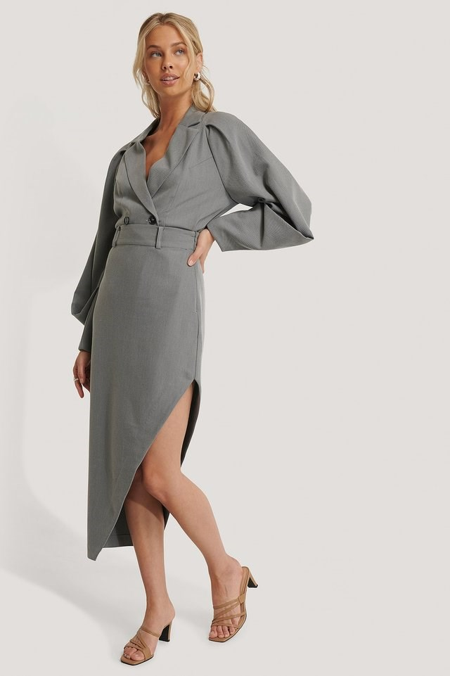 Maxi Tailored Asymmetric Skirt Outfit.