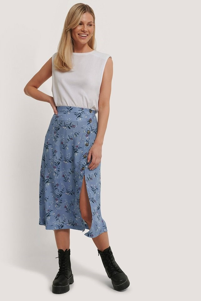 Asymmetrical Button Midi Skirt Outfit.
