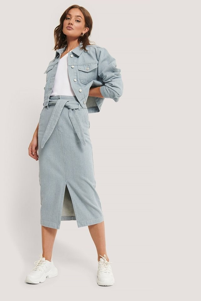 Recycled Light Blue Denim Midi Skirt Outfit.
