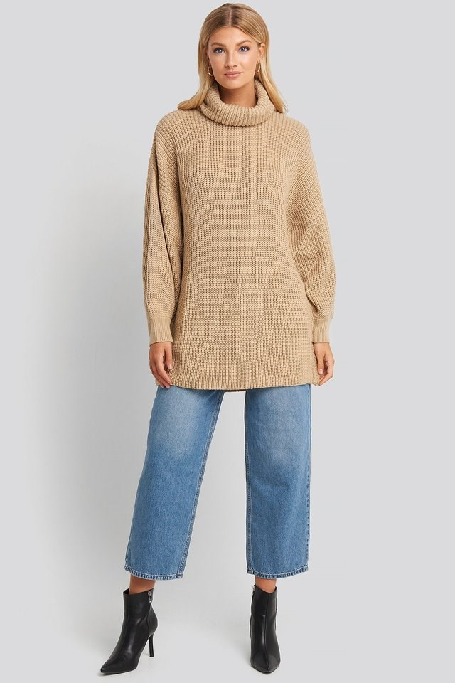 Oversized High Neck Long Knitted sweater Outfit.