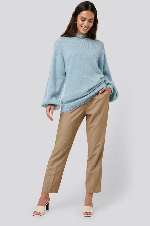 Light Blue Oversized Long knitted Sweater