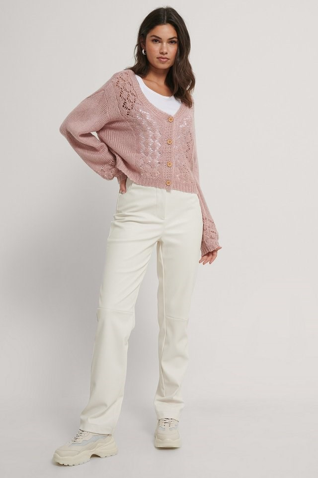 Pattern Knitted Cropped Cardigan Outfit.