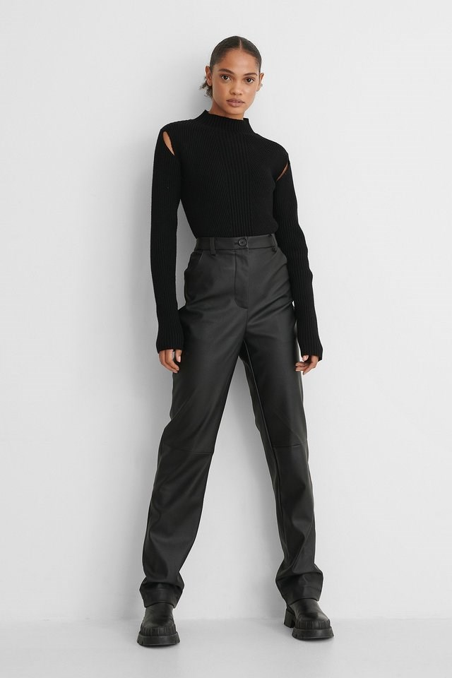Cut Out Ribbed Knitted High Neck Sweater Outfit.
