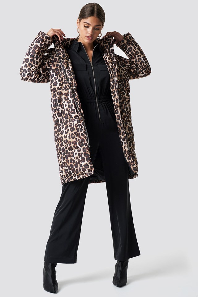 Long Puffer Jacket and Jumpsuit Outfit.