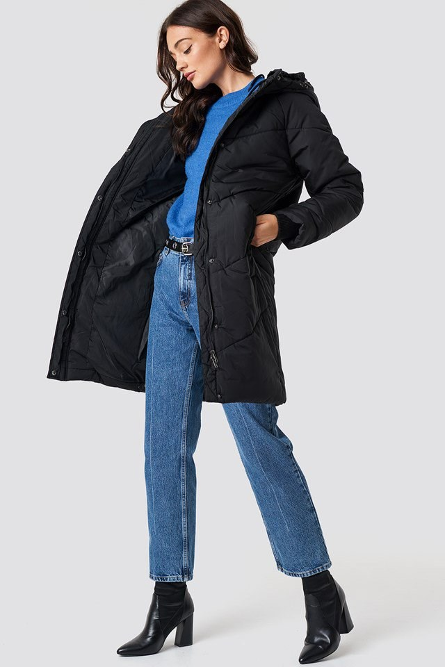 Keep Warm Long Padded Jacket Outfit