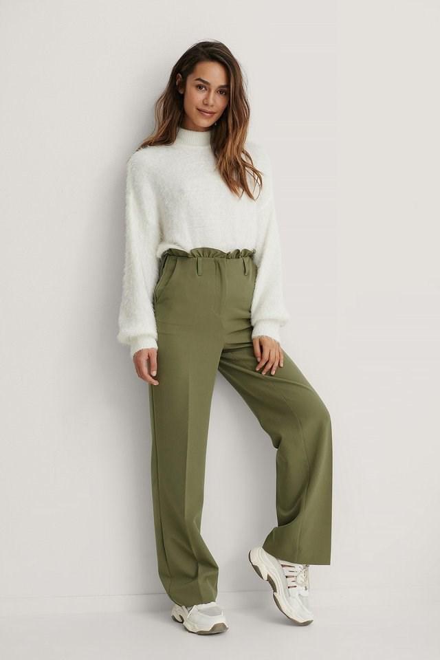 Petit Paperbag Suit Pants Outfit.