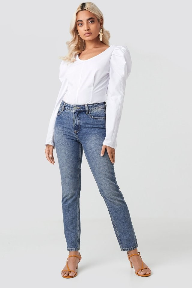 Round Neck Puff Sleeve Blouse Outfit.