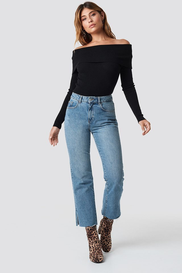 Off the Shoulder Knitted Top with Denim Bottoms Outfit
