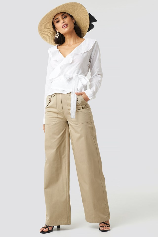Frill Wrap Blouse Outfit.