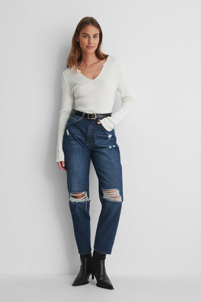 Dark Blue Organic Ripped Knee High Waist Jeans