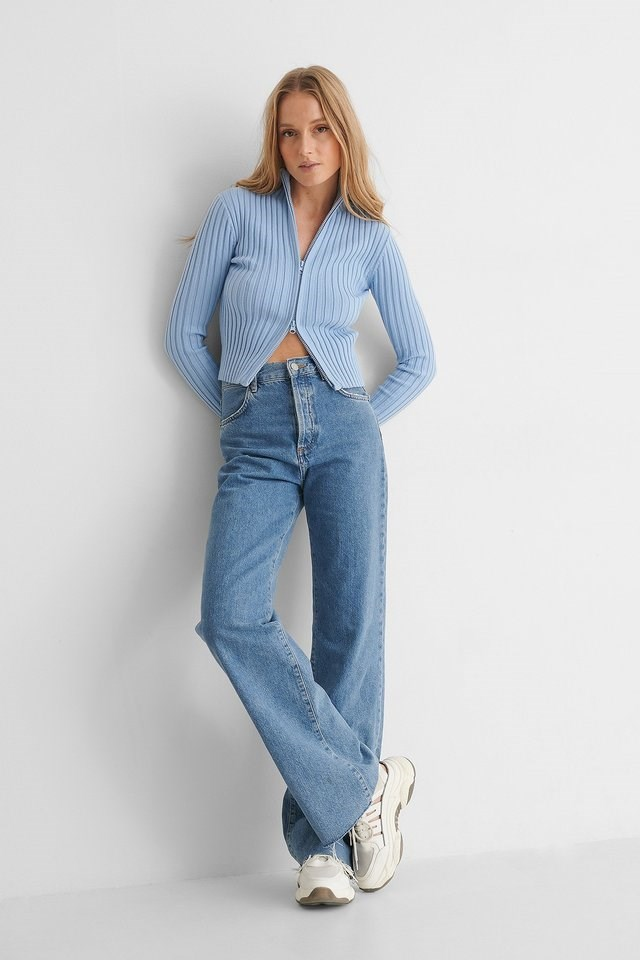 Ribbed High Neck Zipped Knitted Sweater Blue Outfit.