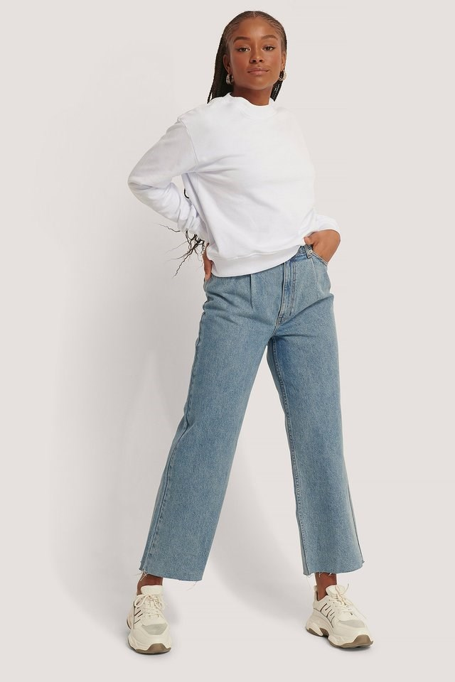 Organic Cotton Pleat Detail Jeans Blue Outfit.