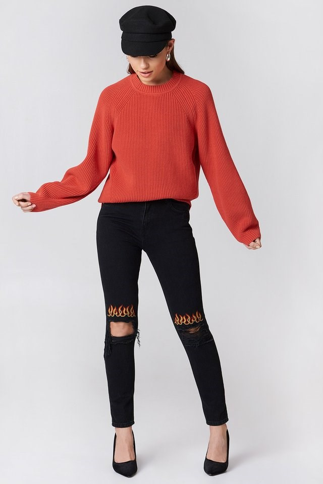 Ripped Knee Flame Embroidery Jeans Black Outfit.