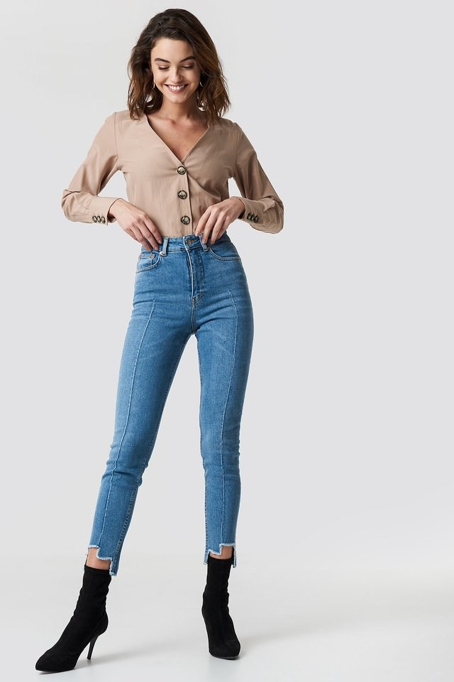 High Rise Slim Asymmetric Hem Jeans Blue Outfit.