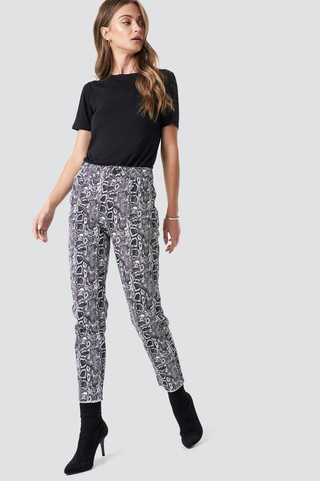 5 Pocket Snake Printed Pants Multicolor.