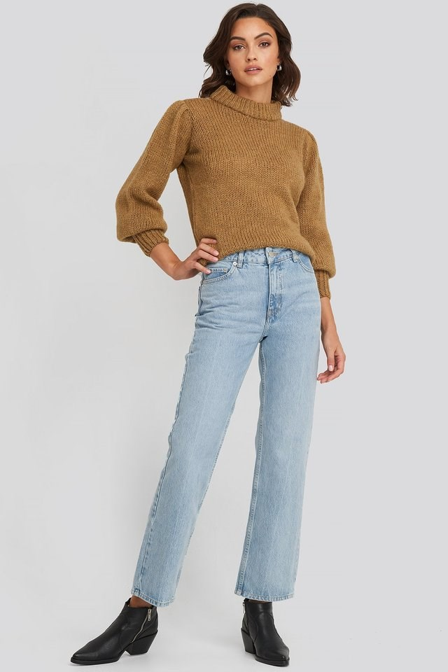 Front Pleat Jeans Blue Outfit.