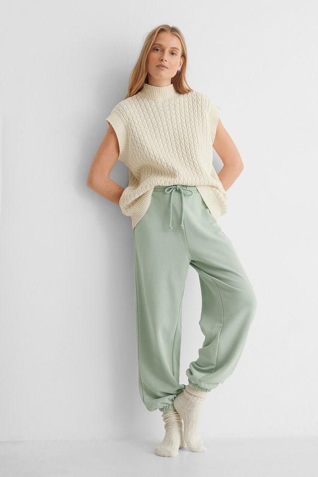 Dusty Green Drawstring Elastic Sweatpants